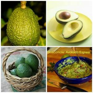 Guacamole diye bilinen avokado ezmesi yeşil limon (lime), domates, kişniş, acı