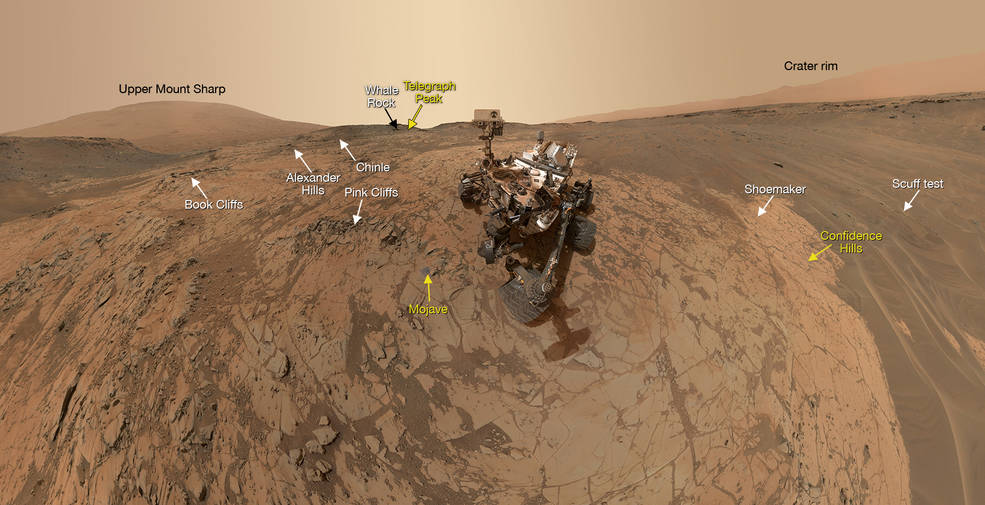 curiosity mars'tan selfie yolladi